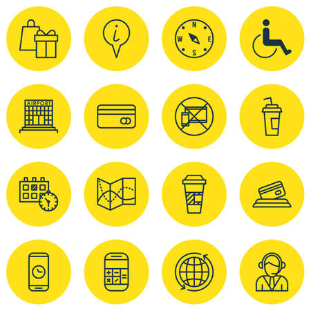 locate: Set Of Traveling Icons On Locate, Appointment And Takeaway Coffee Topics. Editable Vector Illustration. Includes Compass, Operator, Time And More Vector Icons.