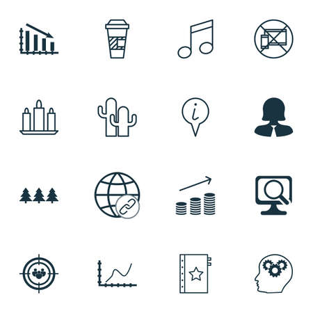 crotchets: Set Of 16 Universal Editable Icons. Can Be Used For Web, Mobile And App Design. Includes Icons Such As Business Woman, Brain Process, Crotchets And More. Illustration