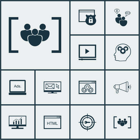 reporting: Set Of Advertising Icons On Coding, Video Player And SEO Brainstorm Topics. Editable Vector Illustration. Includes Display, Performance, Community And More Vector Icons.