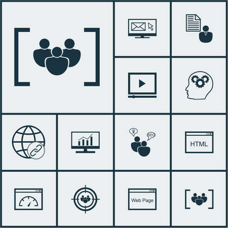 topics: Set Of Marketing Icons On Questionnaire, Loading Speed And Coding Topics. Editable Vector Illustration. Includes Brief, HTML, SEO And More Vector Icons. Illustration