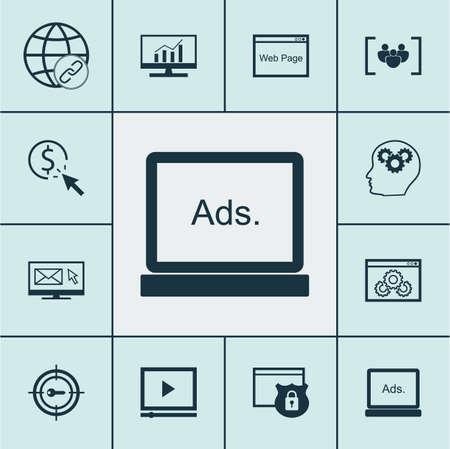 Ensemble d'icônes marketing sur la connectivité, la newsletter et les sujets de questionnaire. Illustration vectorielle modifiable Comprend des icônes de cible, de sécurité, complètes et plus vectorielles.