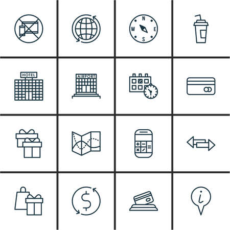 topics: Set Of Airport Icons On Hotel Construction, Appointment And World Topics. Editable Vector Illustration. Includes Gift, Appointment, Direction And More Vector Icons.