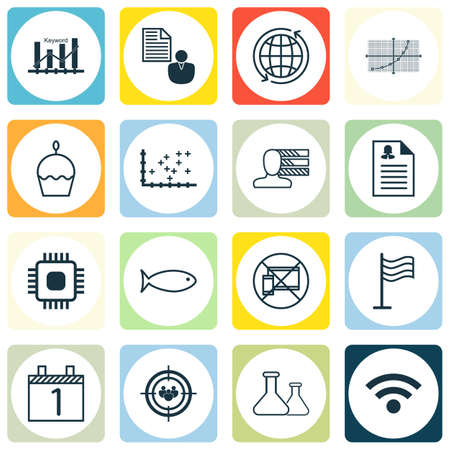 microprocessor: Set Of 16 Universal Editable Icons. Can Be Used For Web, Mobile And App Design. Includes Icons Such As Fishing, Line Grid, Plot Diagram And More.