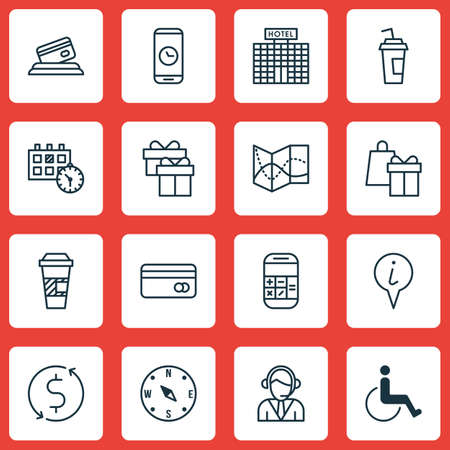 tour operator: Set Of Airport Icons On Drink Cup, Shopping And Locate Topics. Editable Vector Illustration. Includes Road, Box, Exchange And More Vector Icons. Illustration