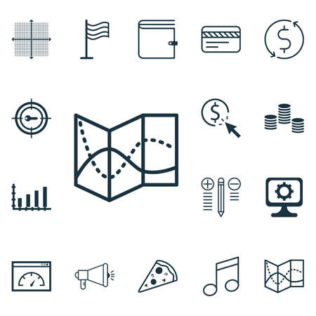 Set Of 16 Universal Editable Icons. Can Be Used For Web, Mobile And App Design. Includes Icons Such As Crotchets, PC, Pin And More. Illustration