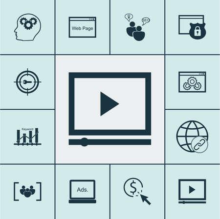 Ensemble d'icônes marketing sur les mots-clés Marketing, Questionnaire et Connectivité. Illustration vectorielle modifiable. Comprend des icônes par, clic, vidéo et plusieurs vecteurs.