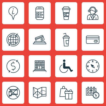 take charge: Set Of Travel Icons On World, Airport Construction And Info Pointer Topics. Editable Vector Illustration. Includes Holiday, Credit, Building And More Vector Icons.