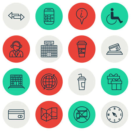 infirm: Set Of Travel Icons On Forbidden Mobile, Airport Construction And Hotel Construction Topics. Editable Vector Illustration. Includes Compass, Present, Operator And More Vector Icons.