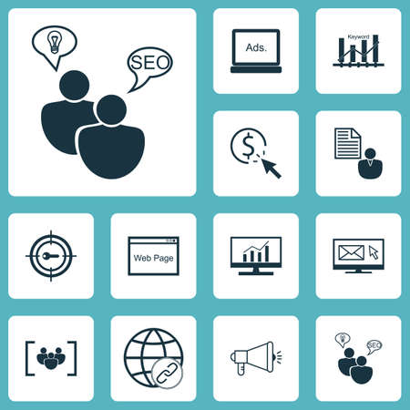 ppc: Set Of SEO Icons On Digital Media, SEO Brainstorm And PPC Topics. Editable Vector Illustration. Includes Keyword, Email, Bulding And More Vector Icons.