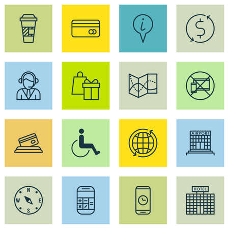 Set Of Airport Icons On Shopping, Forbidden Mobile And Operator Topics. Editable Vector Illustration. Includes Payment, World, Coffee And More Vector Icons. Illustration