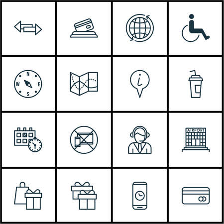 tour operator: Set Of Transportation Icons On Crossroad, Plastic Card And Shopping Topics. Editable Vector Illustration. Includes Center, Accessibility, Disabled And More Vector Icons. Illustration