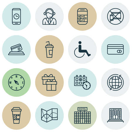 duration: Set Of Airport Icons On Takeaway Coffee, Calculation And Call Duration Topics. Editable Vector Illustration. Includes Cup, Call, Paper And More Vector Icons.
