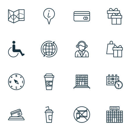 tour operator: Set Of Airport Icons On Drink Cup, Accessibility And Shopping Topics. Editable Vector Illustration. Includes Travel, Holiday, Mobile And More Vector Icons.