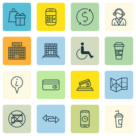 accessibility: Set Of Traveling Icons On Hotel Construction, Forbidden Mobile And Takeaway Coffee Topics. Editable Vector Illustration. Includes Card, Center, Accessibility And More Vector Icons.