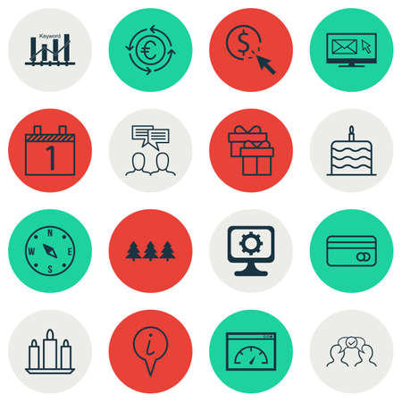 ppc: Set Of 16 Universal Editable Icons. Can Be Used For Web, Mobile And App Design. Includes Icons Such As Plastic Card, Celebration Cake, PPC And More.