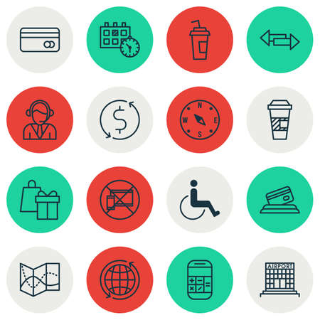 away travel: Set Of Transportation Icons On Money Trasnfer, World And Crossroad Topics. Editable Vector Illustration. Includes No, Debit, Call And More Vector Icons.