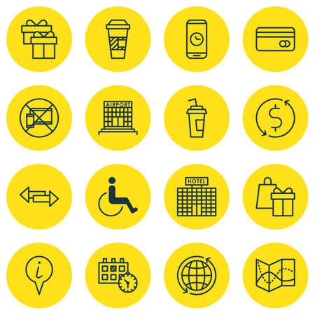 crossroad: Set Of Traveling Icons On Shopping, Info Pointer And Crossroad Topics. Editable Vector Illustration. Includes No, Time, Holiday And More Vector Icons.