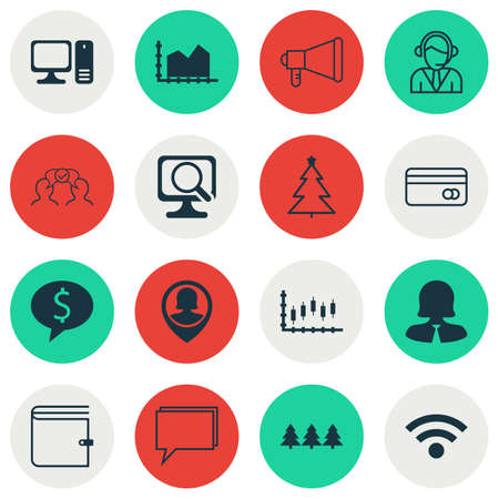 business woman laptop: Set Of 16 Universal Editable Icons. Can Be Used For Web, Mobile And App Design. Includes Icons Such As Business Woman, Laptop, Operator And More. Illustration