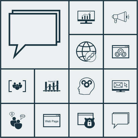 briefing: Set Of Advertising Icons On Website, Conference And Connectivity Topics. Editable Vector Illustration. Includes Online, Security, SEO And More Vector Icons. Illustration