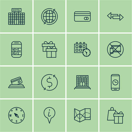 Set Of Travel Icons On World, Appointment And Info Pointer Topics. Editable Vector Illustration. Includes Card, Appointment, Crossroad And More Vector Icons.