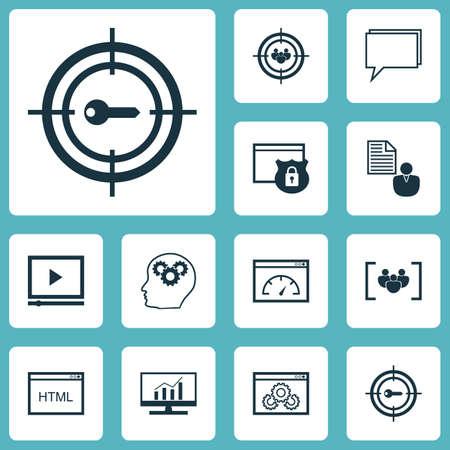 Conjunto de ícones de SEO no Questionário, Vídeo Player e Coding Topics. Ilustração vetorial editável. Inclui HTML, Breve, Consultoria e mais ícones vetoriais.