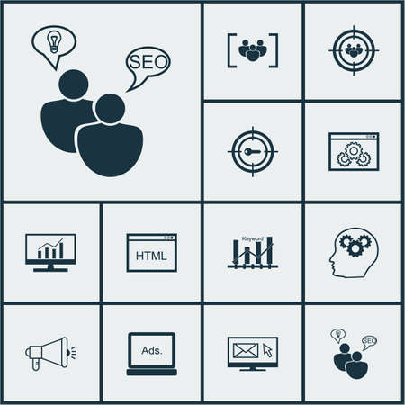 dynamic html: Set Of Marketing Icons On Website Performance, SEO Brainstorm And Focus Group Topics. Editable Vector Illustration. Includes Display, Ranking, Digital And More Vector Icons. Illustration