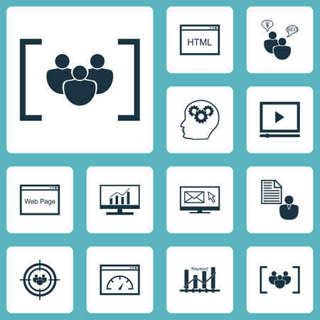 keyword research: Set Of Advertising Icons On Website, Keyword Optimisation And Brain Process Topics. Editable Vector Illustration. Includes Comprehensive, Consulting, Research And More Vector Icons.