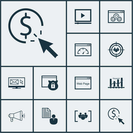 ppc: Set Of SEO Icons On PPC, Media Campaign And Questionnaire Topics. Editable Vector Illustration. Includes Focus, Click, Target And More Vector Icons.