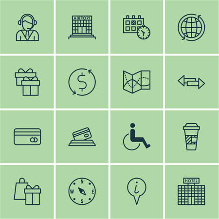 infirm: Set Of Transportation Icons On World, Shopping And Locate Topics. Editable Vector Illustration. Includes Compass, Construction, Locate And More Vector Icons. Illustration