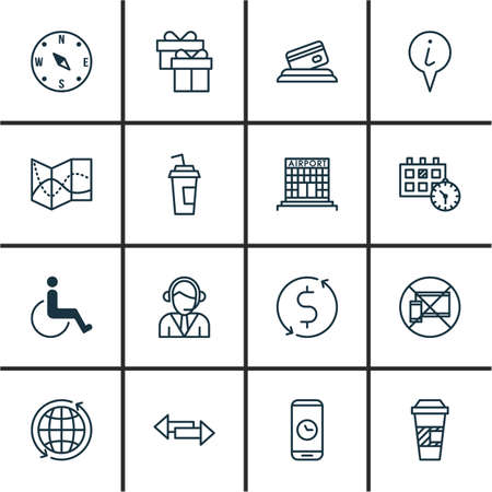paralyzed: Set Of Airport Icons On Info Pointer, World And Call Duration Topics. Editable Vector Illustration. Includes Locate, Cup, Paralyzed And More Vector Icons.
