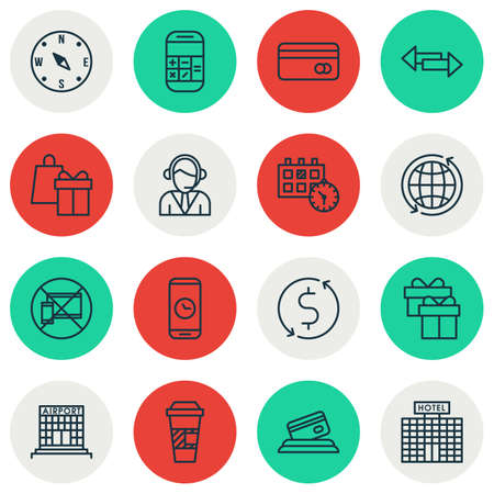 duration: Set Of Transportation Icons On Call Duration, Credit Card And Takeaway Coffee Topics. Editable Vector Illustration. Includes Transfer, Date, Around And More Vector Icons. Illustration