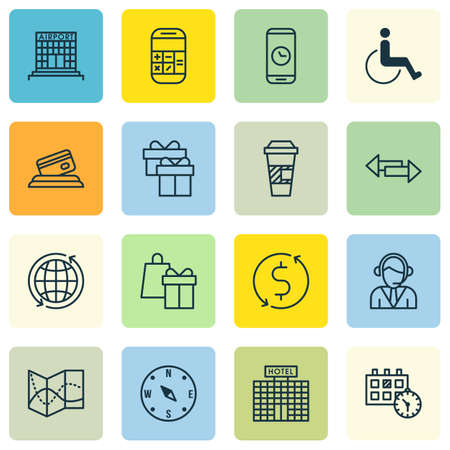 school bills: Set Of Travel Icons On Present, Crossroad And Shopping Topics. Editable Vector Illustration. Includes Coffee, Center, Calendar And More Vector Icons.