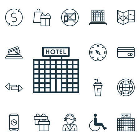Set Of Traveling Icons On Money Trasnfer, Hotel Construction And Plastic Card Topics. Editable Vector Illustration. Includes Hotel, Exchange, Building And More Vector Icons.