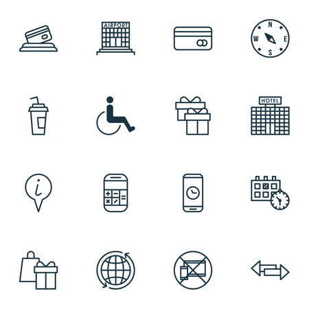 infirm: Set Of Travel Icons On Call Duration, Shopping And Locate Topics. Editable Vector Illustration. Includes Map, Disabled, Present And More Vector Icons.