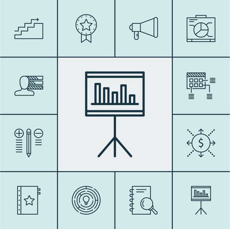 personality development: Set Of Project Management Icons On Decision Making, Analysis And Announcement Topics. Editable Vector Illustration. Includes Advertising, Plan, Award And More Vector Icons. Illustration