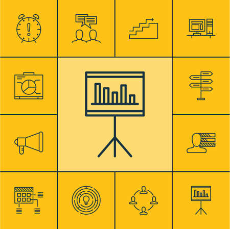 personality development: Set Of Project Management Icons On Board, Computer And Collaboration Topics. Editable Vector Illustration. Includes Goal, Time, Deadline And More Vector Icons.