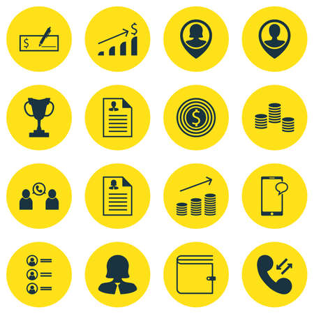 Set Of Management Icons On Curriculum Vitae, Messaging And Business Woman Topics. Editable Vector Illustration. Includes Bank, Male, Dollar And More Vector Icons.