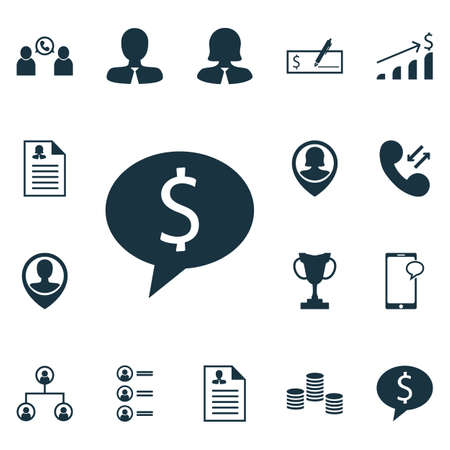 ability to speak: Set Of Management Icons On Cellular Data, Business Woman And Messaging Topics. Editable Vector Illustration. Includes Employee, Profile, Phone And More Vector Icons. Illustration