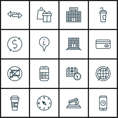 away travel: Set Of Travel Icons On Credit Card, Money Trasnfer And Forbidden Mobile Topics. Editable Vector Illustration. Includes Airport, Credit, Direction And More Vector Icons.