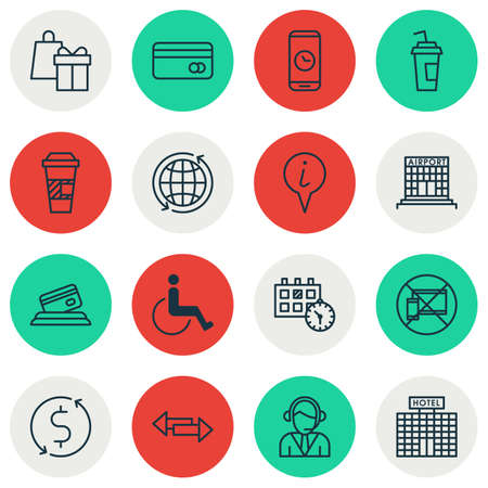 crossroad: Set Of Travel Icons On Plastic Card, Takeaway Coffee And Call Duration Topics. Editable Vector Illustration. Includes Crossroad, Direction, Hotel And More Vector Icons. Illustration