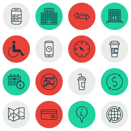 Set Of Airport Icons On Money Trasnfer, Forbidden Mobile And Drink Cup Topics. Editable Vector Illustration. Includes Direction, Pointer, Device And More Vector Icons.