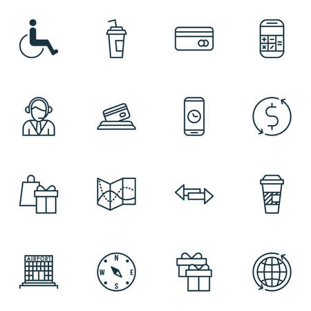 Set Of Travel Icons On Airport Construction, Takeaway Coffee And Crossroad Topics. Editable Vector Illustration. Includes Around, Disabled, Arrows And More Vector Icons.