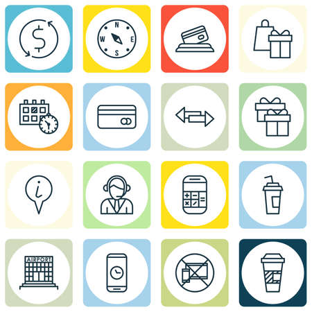 profit celebration: Set Of Airport Icons On Crossroad, Present And Credit Card Topics. Editable Vector Illustration. Includes Calendar, Credit, Calculation And More Vector Icons.