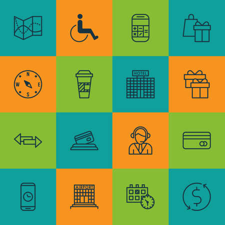 armchair shopping: Set Of Transportation Icons On Shopping, Locate And Credit Card Topics. Editable Vector Illustration. Includes Calendar, Center, Box And More Vector Icons. Illustration