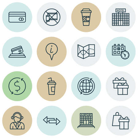 Set Of Airport Icons On Crossroad, Shopping And Plastic Card Topics. Editable Vector Illustration. Includes Crossroad, Shopping, Date And More Vector Icons.
