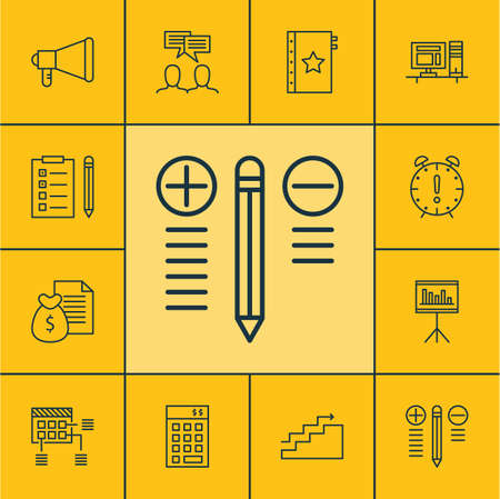 best employee: Set Of Project Management Icons On Announcement, Time Management And Presentation Topics. Editable Vector Illustration. Includes Investment, Quality, Announcement And More Vector Icons. Illustration