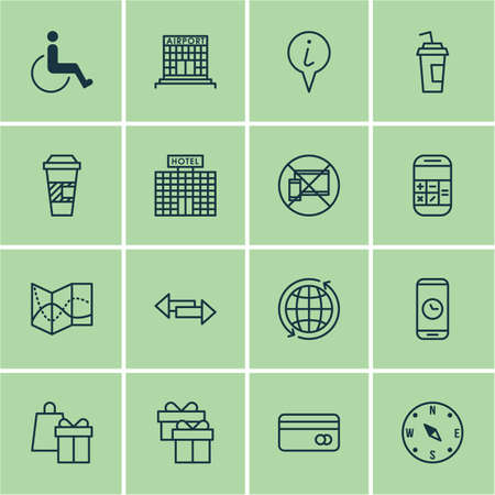 Set Of Transportation Icons On Forbidden Mobile, Shopping And Drink Cup Topics. Editable Vector Illustration. Includes Card, Coffee, Shopping And More Vector Icons.