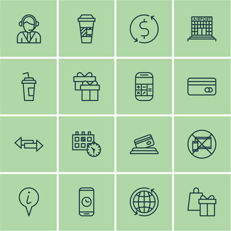 transact: Set Of Airport Icons On Present, Crossroad And Appointment Topics. Editable Vector Illustration. Includes No, Present, Drink And More Vector Icons.