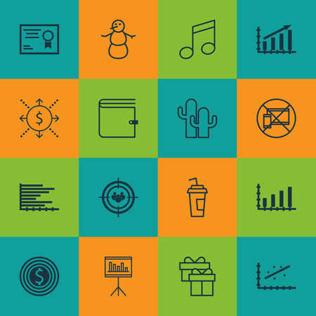 crotchets: Set Of 16 Universal Editable Icons. Can Be Used For Web, Mobile And App Design. Includes Icons Such As Bars Chart, Crotchets, Profit Graph And More.