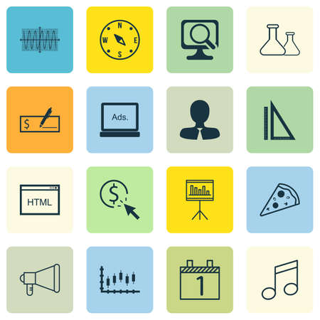 crotchets: Set Of 16 Universal Editable Icons. Can Be Used For Web, Mobile And App Design. Includes Icons Such As Sinus Graph, Manager, Crotchets And More.